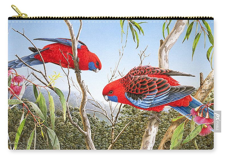 Bird Carry-all Pouch featuring the painting Our Beautiful Home - Crimson Rosellas by Frances McMahon