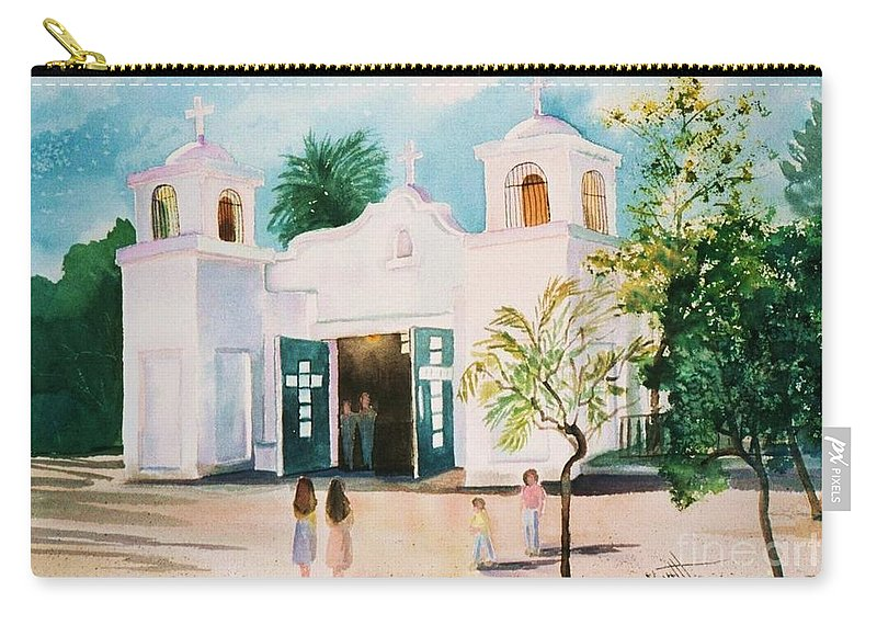 Mission Church Carry-all Pouch featuring the painting Our Lady Of Guadalupe by Marilyn Smith