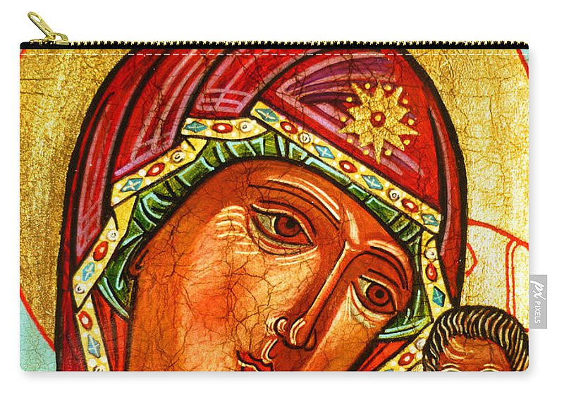 Mother Mary Carry-all Pouch featuring the painting Our Lady Of Kazan by Ryszard Sleczka