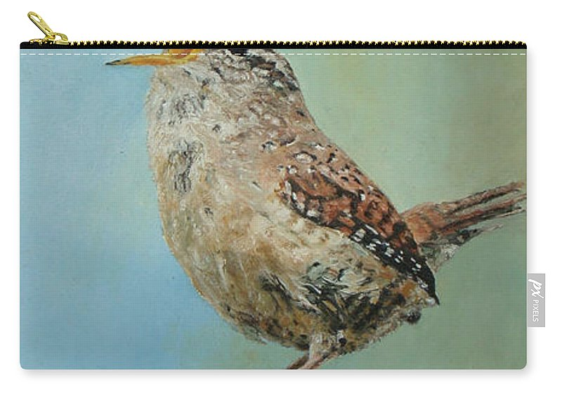 Wren Carry-all Pouch featuring the painting Our Little Wren by Erna Goudbeek