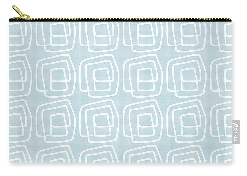 Boho Carry-all Pouch featuring the painting Out Of The Box Blue And White Pattern by Linda Woods