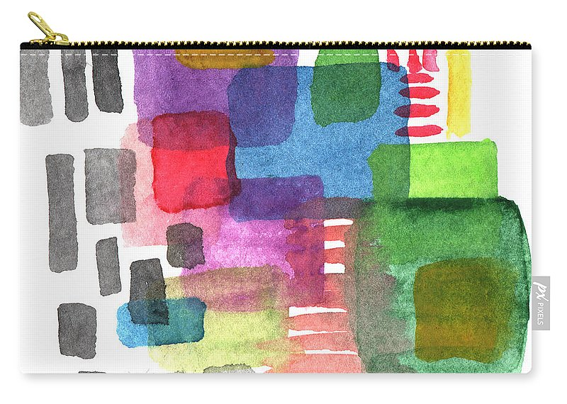 Squares Carry-all Pouch featuring the painting Out Of The Box by Linda Woods