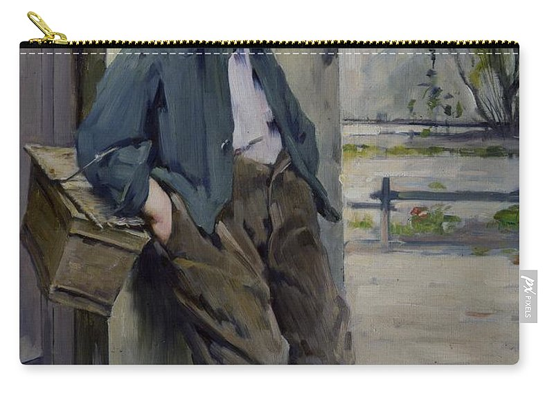 Out Of The Game (oil On Canvas) Hors Concours; Male; Boy; Child; Portrait; Cute; Full Length; Standing; Young; 19th; 20th; Outdoors; Street; Leaning; Basket; Hands In Pockets; Scruffy; Dishevelled; Waiting; Hors-concours; Out Of The Game; Left Out; Excluded; Exclusion; Sulking; Outcast; Sad; Melancholy; Sheepish; Henri Jules Jean Geoffroy Carry-all Pouch featuring the painting Out Of The Game by Henri Jules Jean Geoffroy