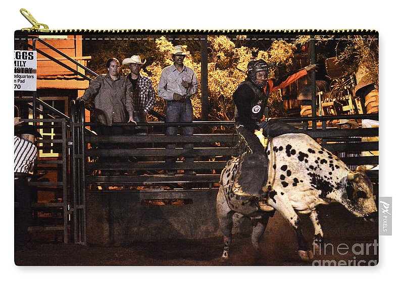 Bull Riding Carry-all Pouch featuring the photograph Out Of The Gate by Tommy Anderson