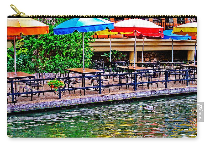 Riverwalk Carry-all Pouch featuring the photograph Outdoor Dining by David and Carol Kelly