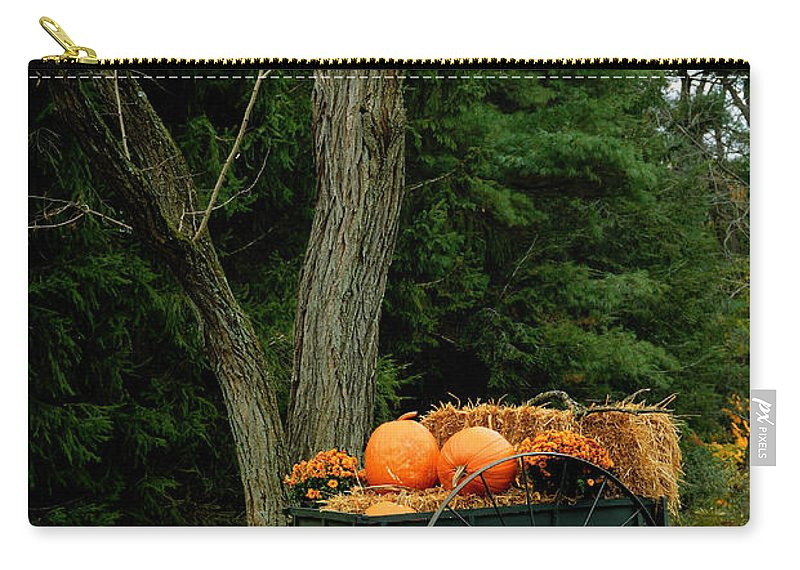 Autumn Carry-all Pouch featuring the photograph Outdoor Fall Halloween Decorations by Amy Cicconi