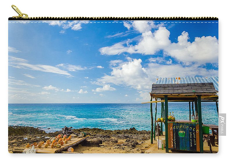 Bay Carry-all Pouch featuring the photograph Outdoor Tropical Bar And Souvenirs by Jess Kraft