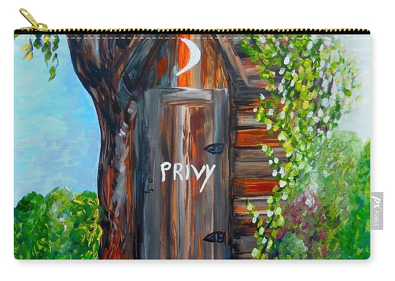 Out House Carry-all Pouch featuring the painting Outhouse - Privy - The Old Out House by Eloise Schneider