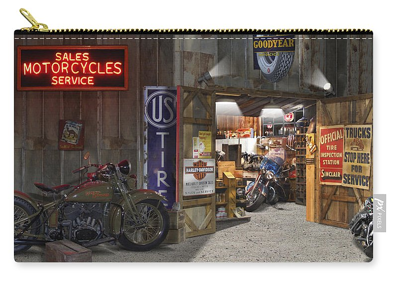 Motorcycle Shop Carry-all Pouch featuring the photograph Outside The Motorcycle Shop by Mike McGlothlen