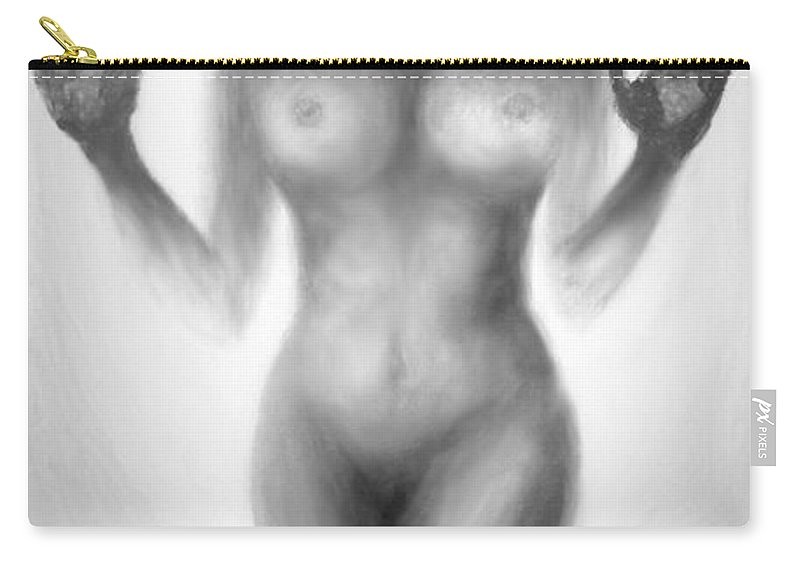 Original Art Carry-all Pouch featuring the painting Outsider Series - Trapped Behind The Glass by Lilia D