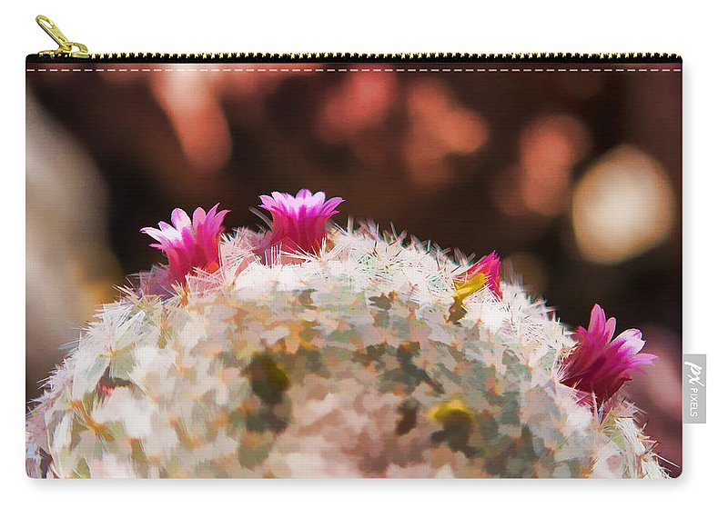 Pink Cactus Carry-all Pouch featuring the photograph Over The Barrel by Scott Campbell