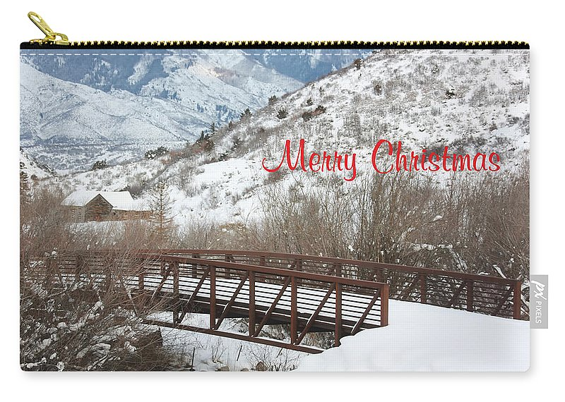 Christmas Card Art Carry-all Pouch featuring the photograph Over The River by Kim Hojnacki
