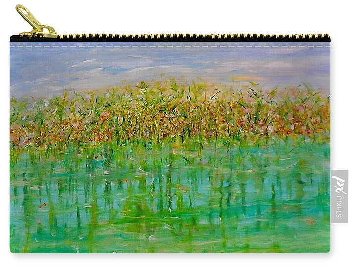 Whimsical Landscape Scene Carry-all Pouch featuring the painting Over Under by Sara Credito