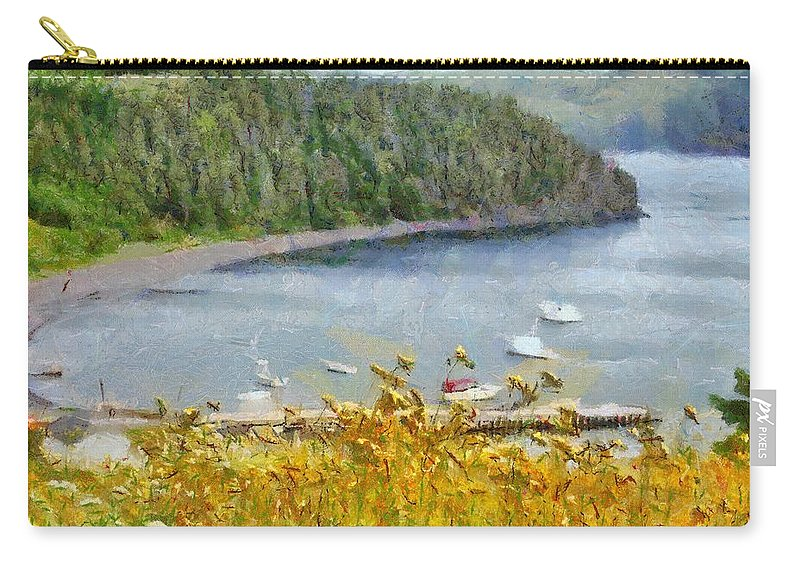 Canadian Carry-all Pouch featuring the painting Overlooking the Harbor by Jeffrey Kolker