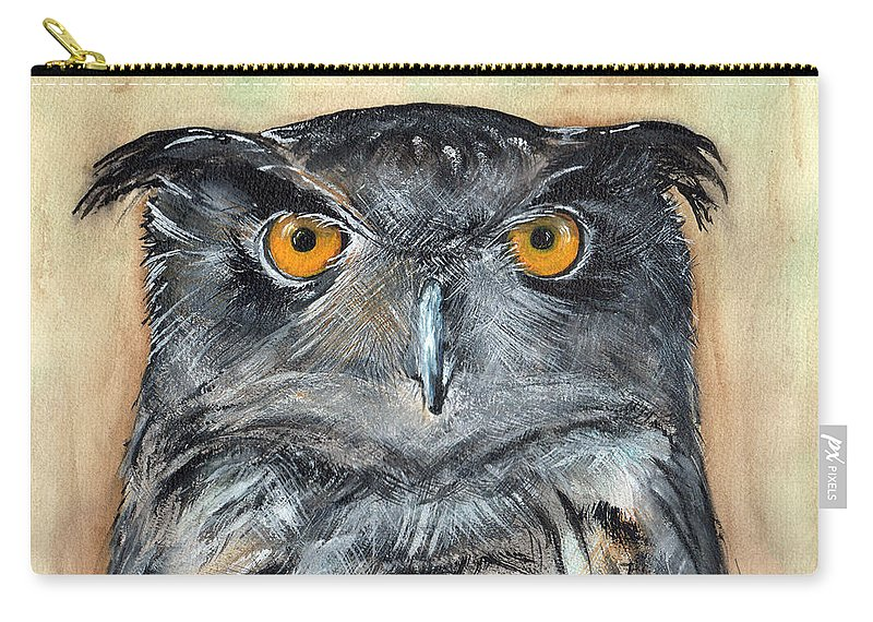 Owl Carry-all Pouch featuring the painting Owl Series - Owl 1 by Judith Rice