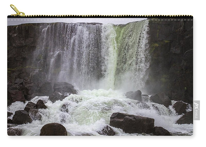 First Golden Circle Carry-all Pouch featuring the photograph Oxarafoss Waterfall by For Ninety One Days