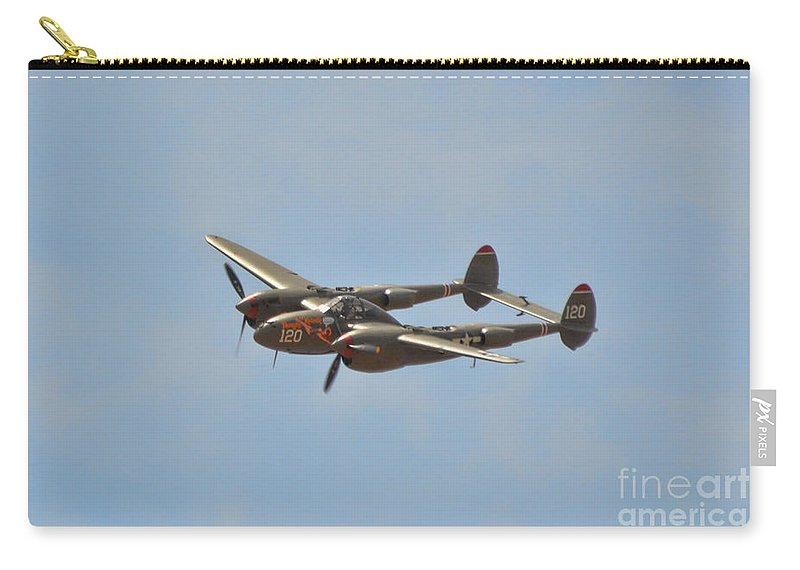 Lockheed P-38l Lighting Carry-all Pouch featuring the photograph P-38l Lighting - Thoughts Of Midnight 2 by Tommy Anderson