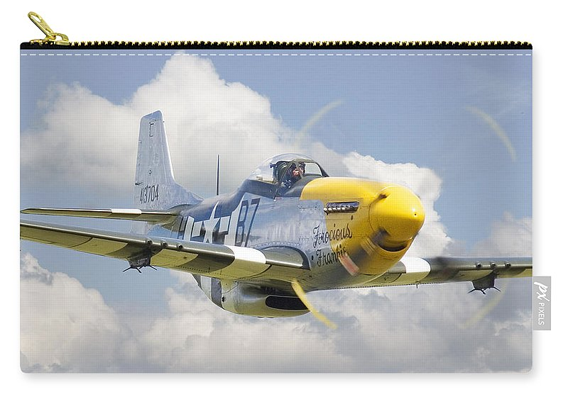 Aircraft Carry-all Pouch featuring the digital art P51 Ferocious Frankie by Pat Speirs