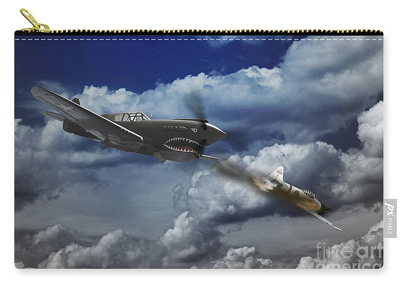 P40 Warhawk Carry-all Pouch featuring the digital art Pacific Battle by J Biggadike