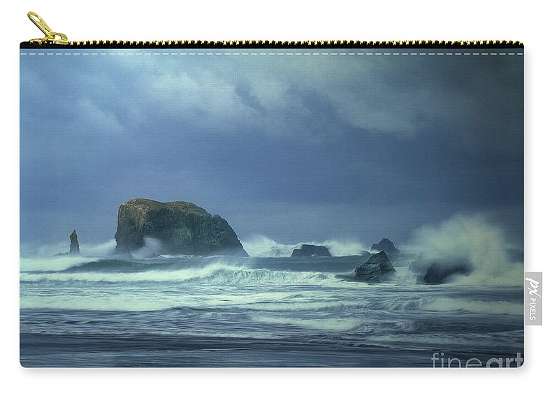 Dave Welling Carry-all Pouch featuring the photograph Pacific Storm Bandon Beach Oregon by Dave Welling