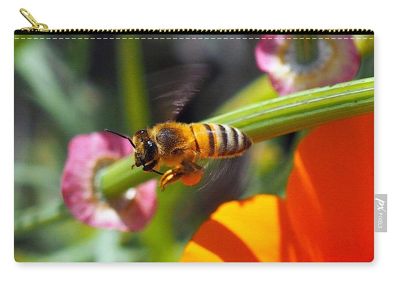 Spring Carry-all Pouch featuring the photograph Packin Poppy Pollen by Joe Schofield