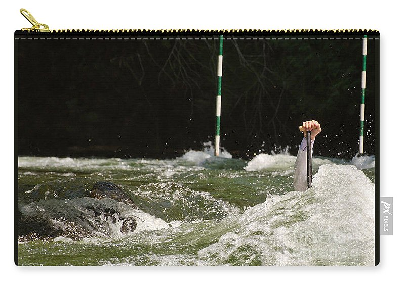 Arm Carry-all Pouch featuring the photograph Paddling Hard by Les Palenik