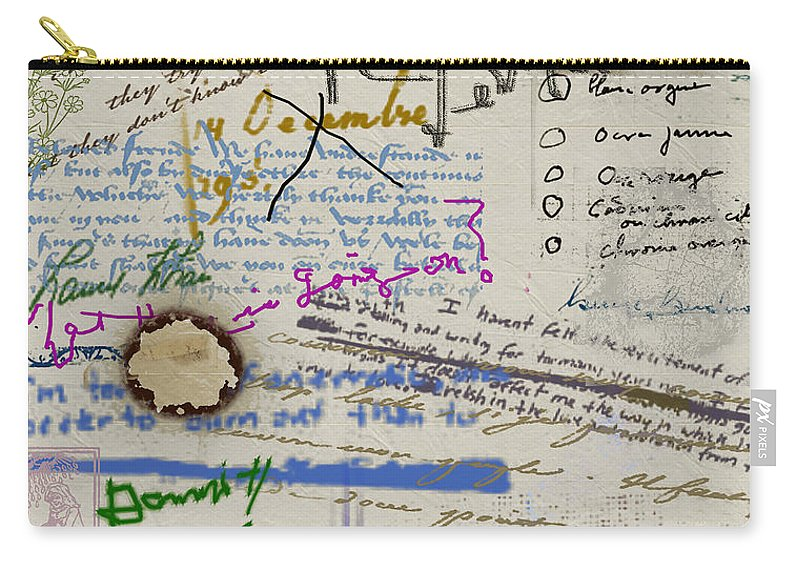 Diary Carry-all Pouch featuring the painting Page From The Madwoman's Notebook by RC DeWinter