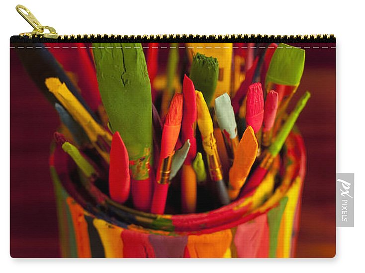 Art Carry-all Pouch featuring the photograph Paint Can And Paint Brushes Still Life by Jim Corwin
