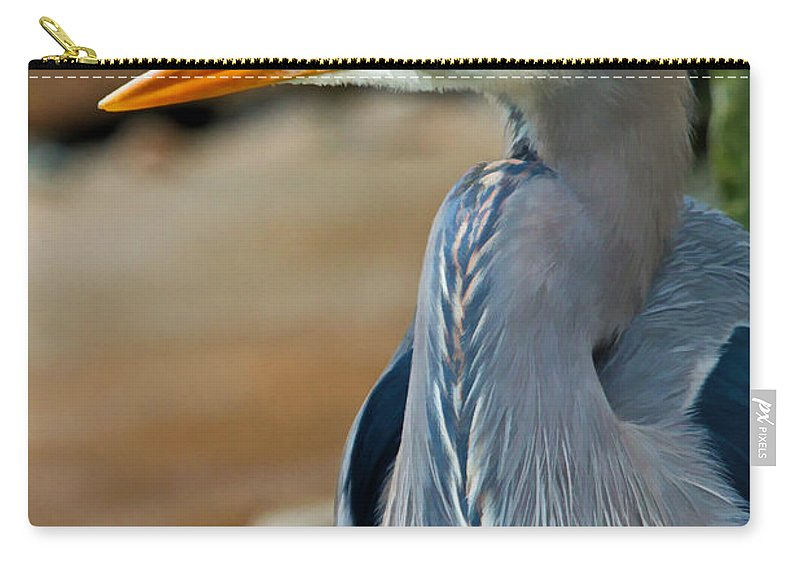 Blue Heron Carry-all Pouch featuring the photograph Painted Blue Heron by Athena Mckinzie