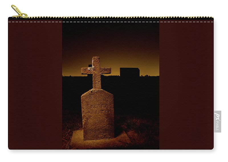 Oregon Carry-all Pouch featuring the photograph Painted Cross In Graveyard by Jean Noren