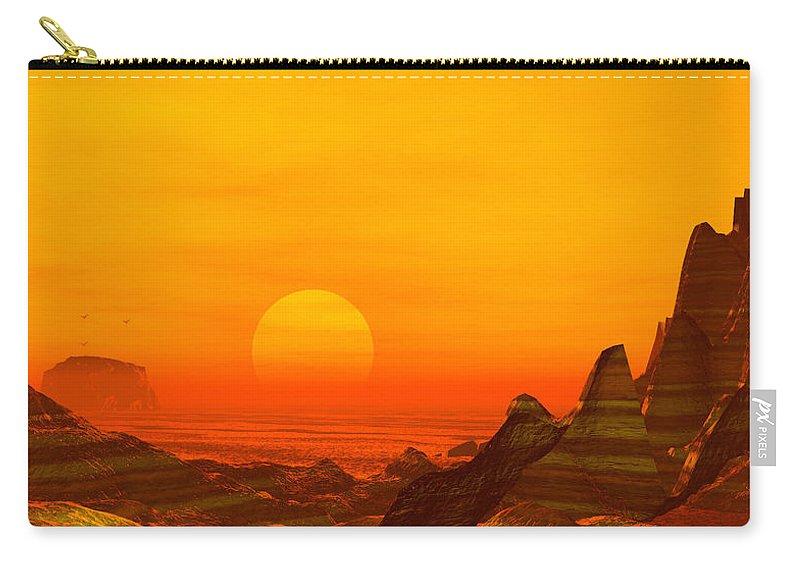 Painted Desert Landscape Carry-all Pouch featuring the digital art Painted Desert by John Junek