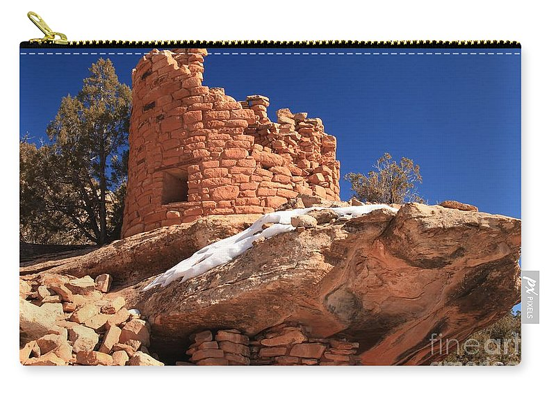 Canyon Of The Ancients Carry-all Pouch featuring the photograph Painted Hand Pueblo by Adam Jewell
