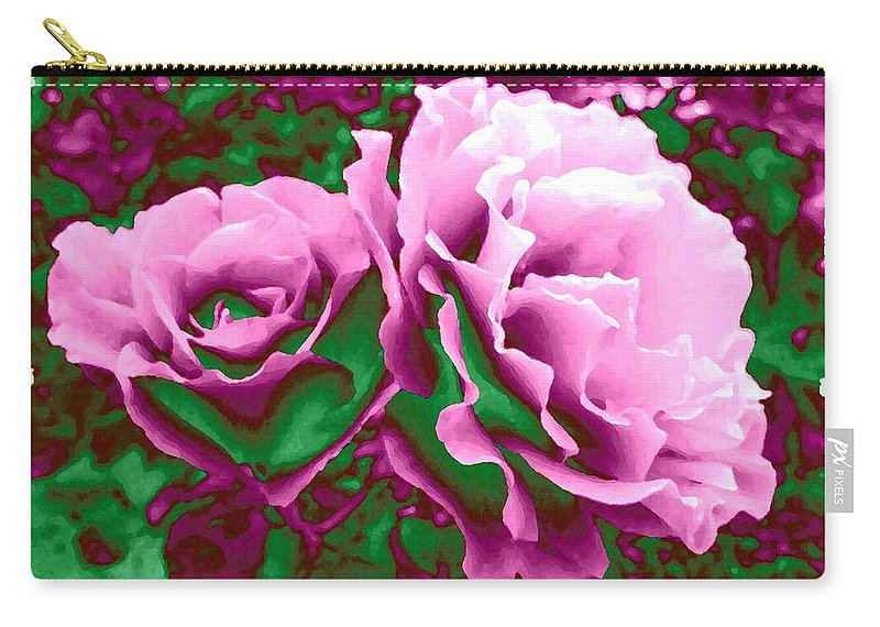 Painted Pink Roses Carry-all Pouch featuring the digital art Painted Pink Roses by Will Borden
