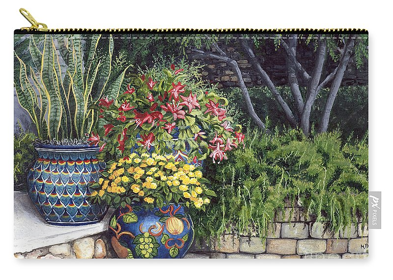 Floral Carry-all Pouch featuring the painting Painted Pots by Mary Palmer