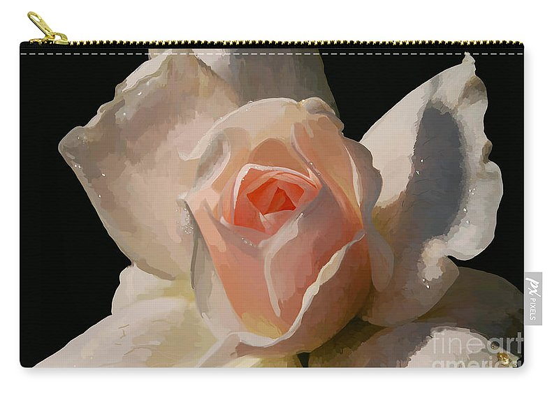 Rose Carry-all Pouch featuring the digital art Painted Rose by Lois Bryan