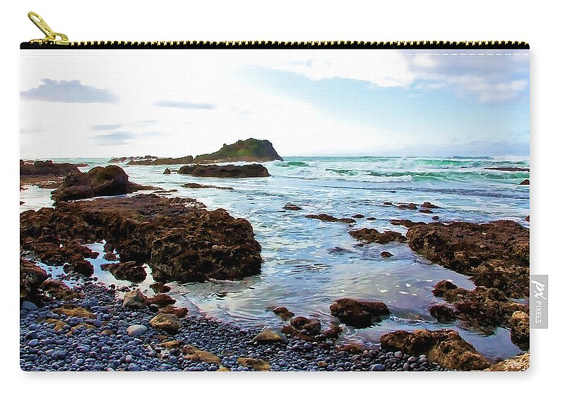 Beach Carry-all Pouch featuring the photograph Painted Seascape by Athena Mckinzie