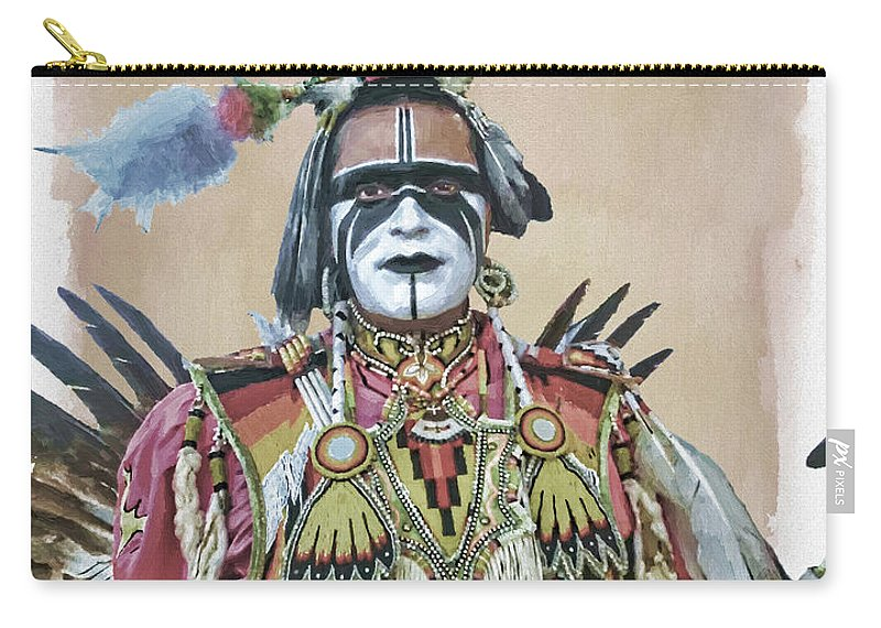 Painted Carry-all Pouch featuring the digital art Painted Warrior by Anita Hubbard