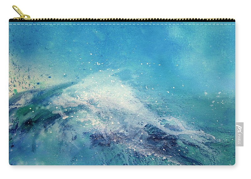 Gouache Carry-all Pouch featuring the digital art Painting Of An Ocean Wave by Brad Rickerby