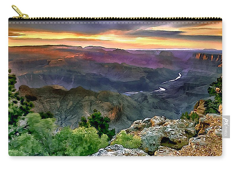Abyss Carry-all Pouch featuring the painting Painting Of Desert View Grand Canyon by Bob and Nadine Johnston