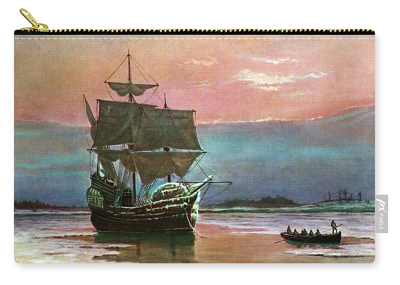 Horizontal Carry-all Pouch featuring the painting Painting Of The Ship The Mayflower 1620 by Vintage Images