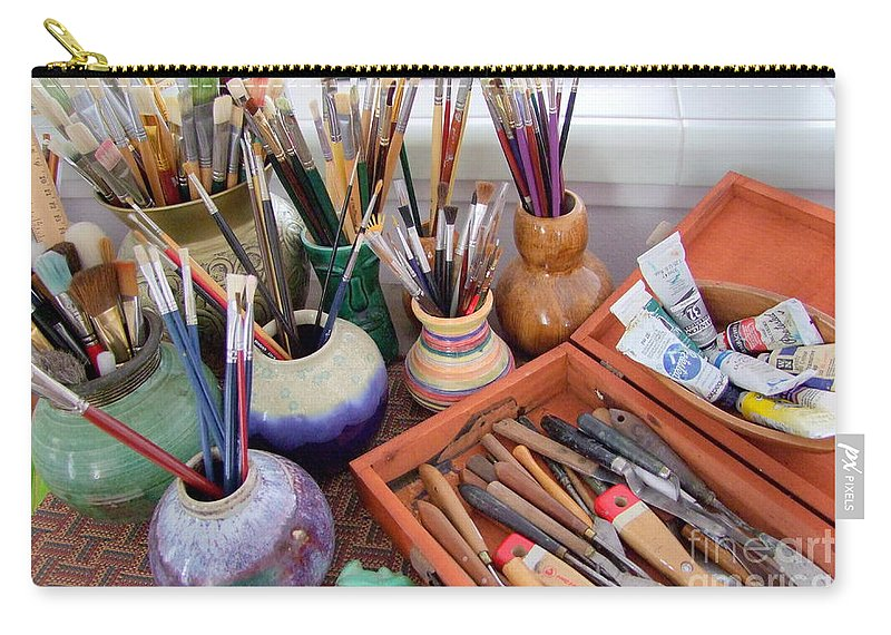 Painting Carry-all Pouch featuring the photograph Painting Work Table by Mary Deal