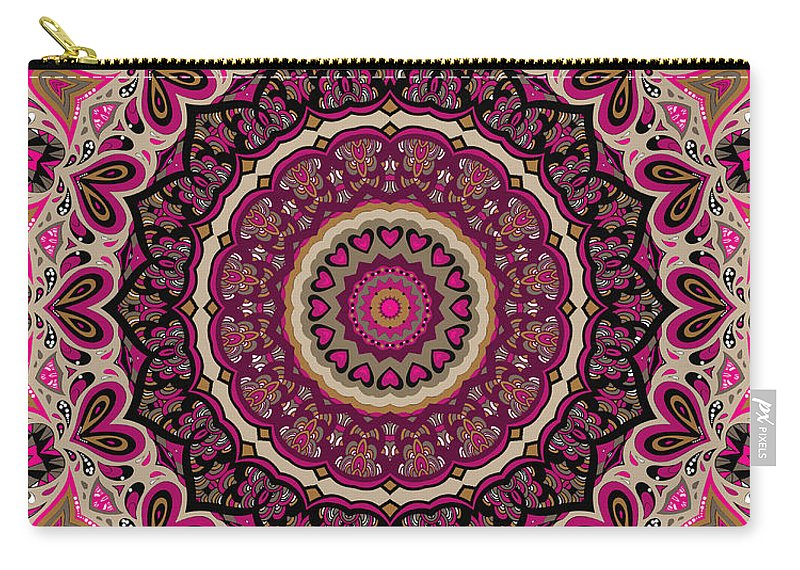 Mandala Carry-all Pouch featuring the digital art Paisley Hearts by Joy McKenzie