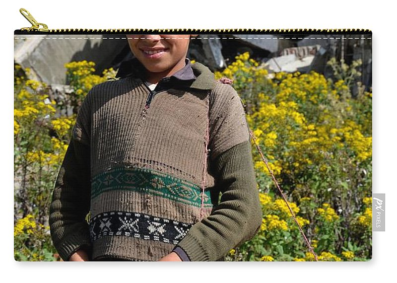 Boy Carry-all Pouch featuring the photograph Pakistani Boy In Front Of Hotel Ruins In Swat Valley by Imran Ahmed