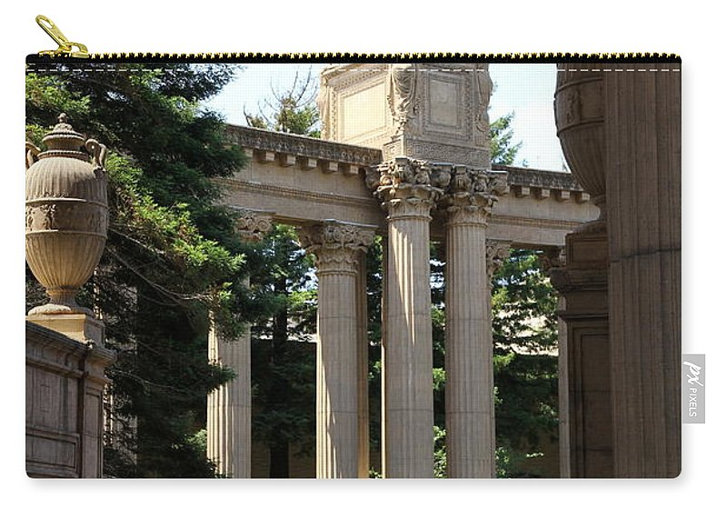 Palace Of Fine Arts Carry-all Pouch featuring the photograph Palace Fine Arts Pillars And Urn by Christiane Schulze Art And Photography