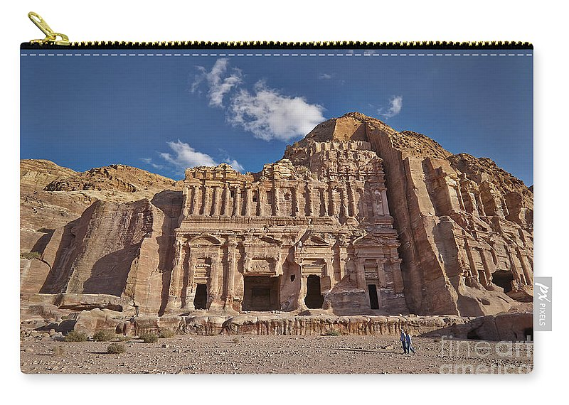 Jordan Carry-all Pouch featuring the photograph Palace Tomb In Nabataean Ancient Town Petra by Juergen Ritterbach