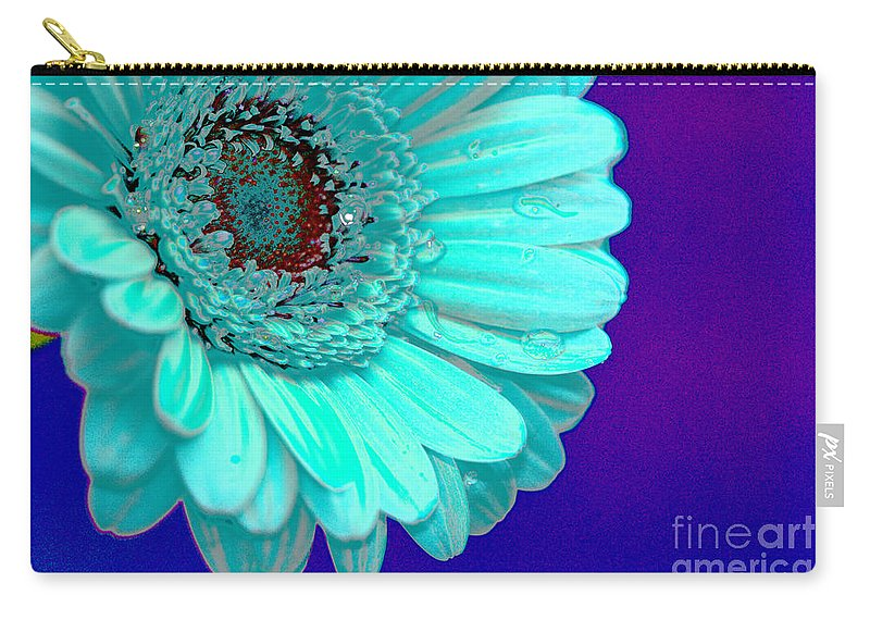 Blue Carry-all Pouch featuring the digital art Pale Blue by Carol Lynch