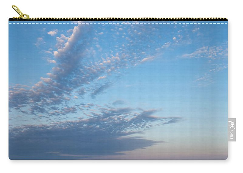 Pale Blues Carry-all Pouch featuring the photograph Pale Blues And Feathery Clouds In The Fading Light by Georgia Mizuleva
