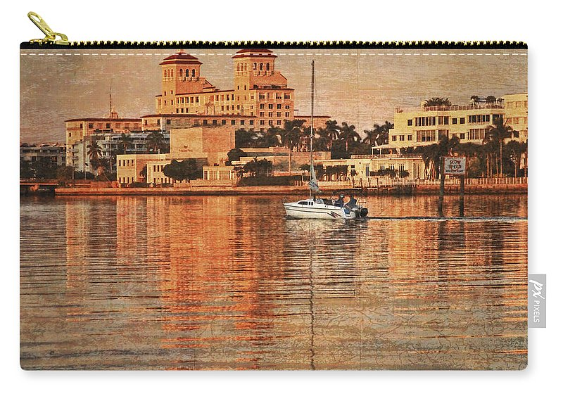 Boats Carry-all Pouch featuring the photograph Palm Beach At Golden Hour by Debra and Dave Vanderlaan