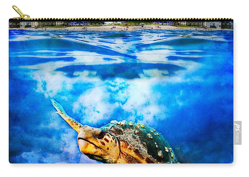 Clouds Carry-all Pouch featuring the photograph Palm Beach Under And Over by Debra and Dave Vanderlaan