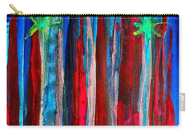 Palm Springs Carry-all Pouch featuring the painting Palm Springs Nocturne Original Painting by Sol Luckman